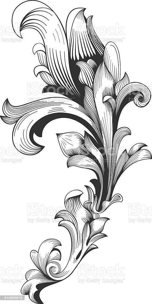Ilustración de Vendimia Marco Barroco Ornament Grabado Filigrana y ...