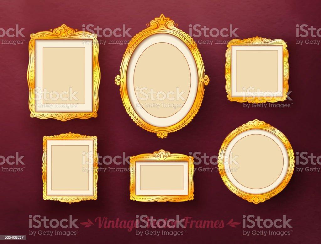 barocke goldene bilderrahmen set vintagelook stock vektor art und mehr bilder von 2015 535468537. Black Bedroom Furniture Sets. Home Design Ideas