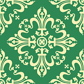 Vintage baroque ornament, damask floral seamless pattern, vector illustration. Light yellow oriental tracery on green background, retro antique rococo romantic decoration for fabric design, wallpaper