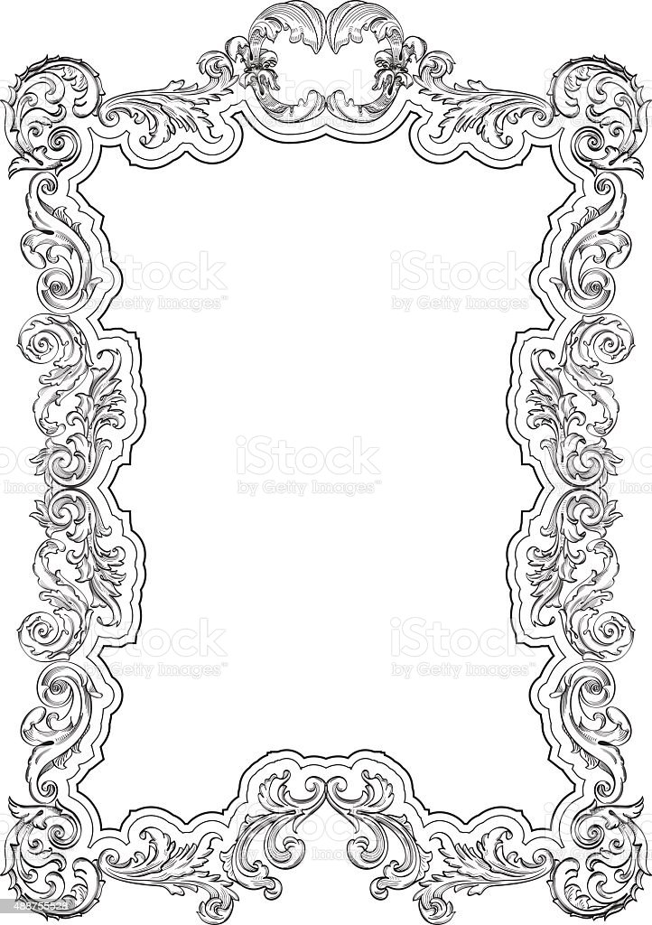 Vintage Baroque Retro Frame Stock Vector Art & More Images of 2015 ...