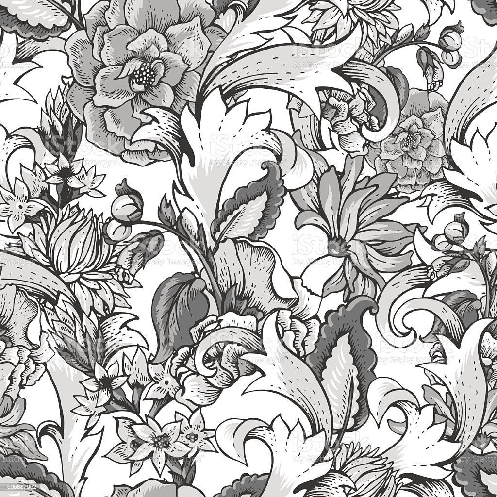 Ilustración de Barroco Vintage Patrón Sin Costuras Con Flores De ...