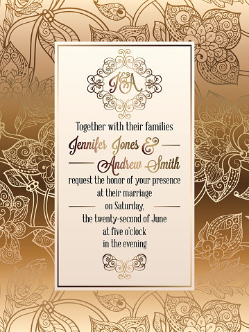 Vintage Baroque Style Wedding Invitation Card Template Elegant Formal Design With Damask Background Traditional Decoration For Wedding Stock