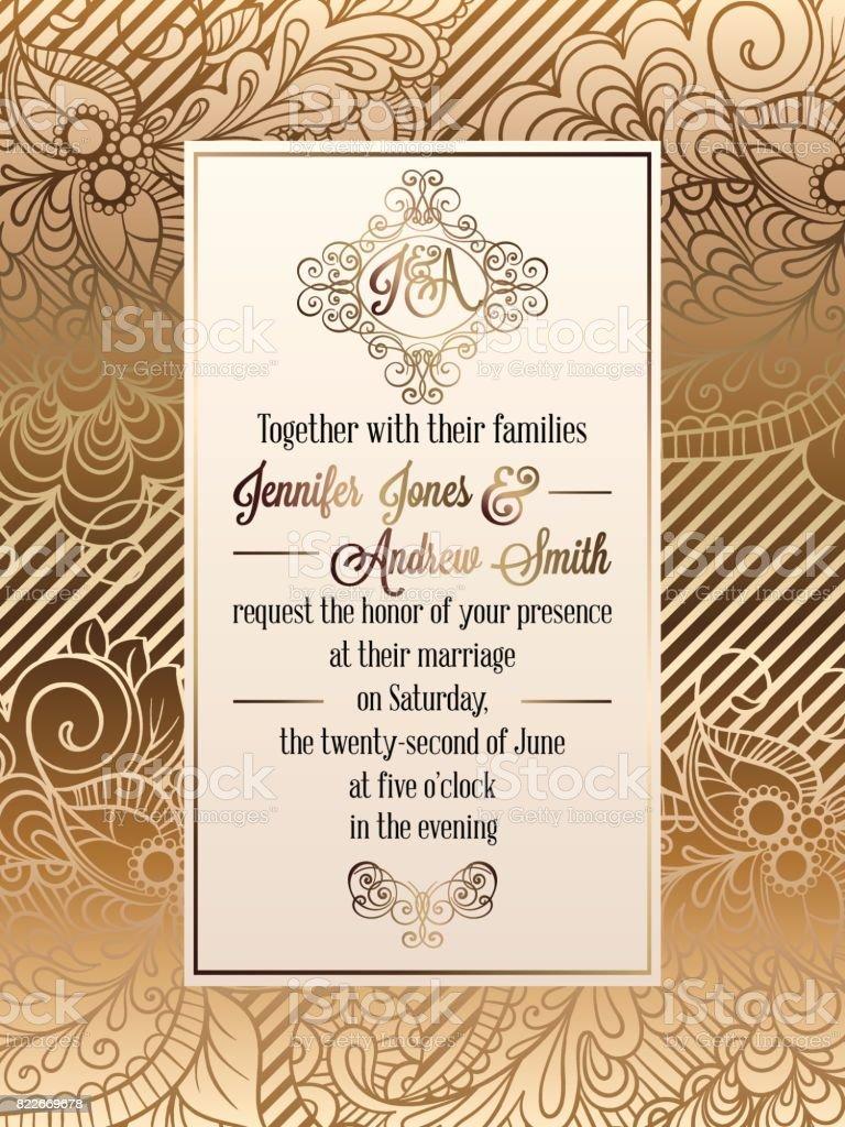 Vintage Baroque Style Wedding Invitation Card Template Elegant Formal Design With Damask Background Traditional Decoration For Wedding Stock Illustration Download Image Now Istock