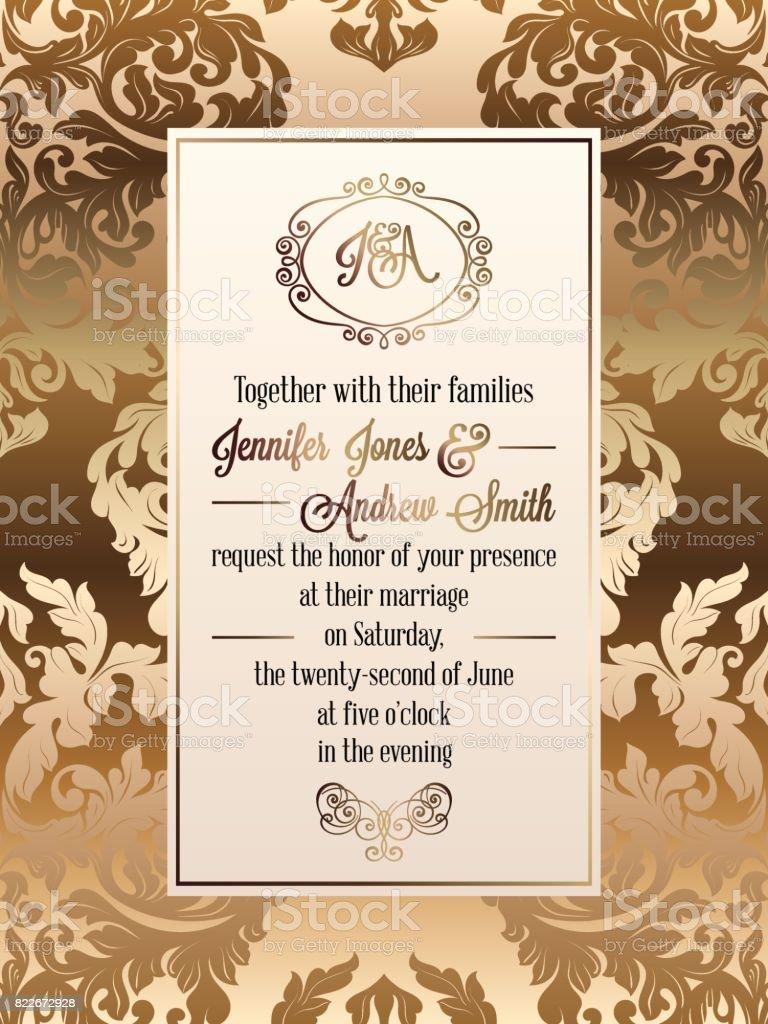 Vintage Baroque Style Wedding Invitation Card Template Elegant ...