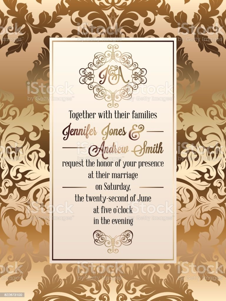 Vintage Baroque Style Wedding Invitation Card Template Elegant Formal Design With Damask Background Traditional Decoration For Wedding Stockowe
