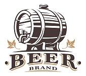 Vintage barrel of beer emblem on white background