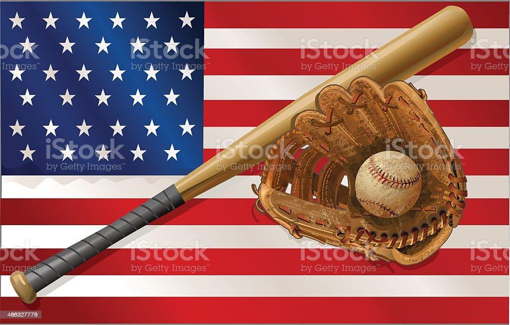 Vintage baseball bat mitt bsll vector art illustration