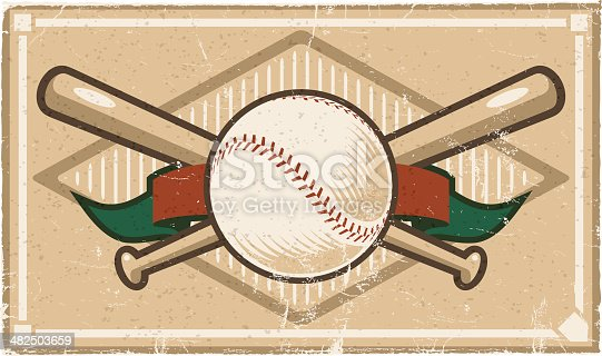 A vintage baseball design, with a grunge and distress pattern