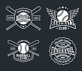 Vintage baseball labels and badges