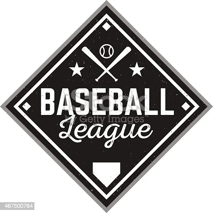 Vintage vector logo for your baseball league or design. Customize with your own text and colors.
