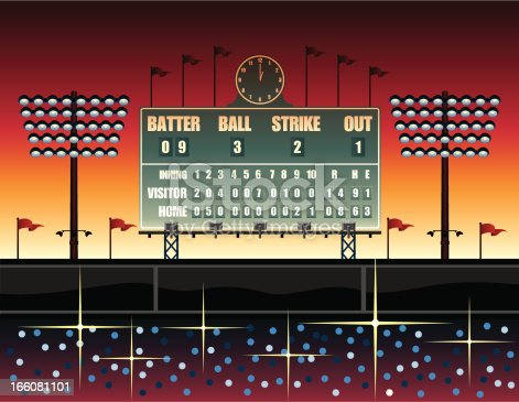 A computer generated illustration of a vintage style baseball scoreboard set against a sunset background. Image includes floodlights, a clock showing the time to be 1 o'clock, some waving flags in the background and several twinkles of light in the spectator section. The sunset is orange and red.
