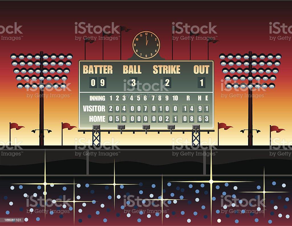 Vintage baseball scoreboard illustration vector art illustration