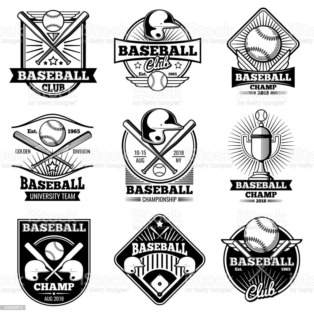 Vintage baseball vector labels and emblems vector art illustration