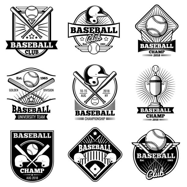 vintage baseball vector labels and emblems - softball stock illustrations, clip art, cartoons, & icons