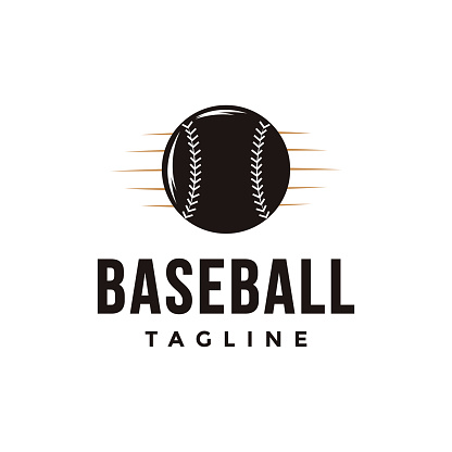 Vintage baseball vector with ball icon on white background