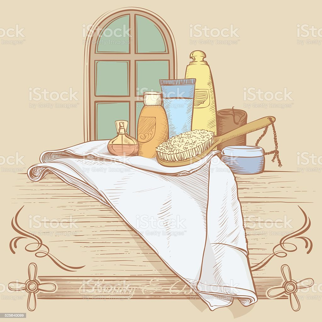 Vintage Bathroom Illustration Royalty Free Stock Vector Art Amp More Images