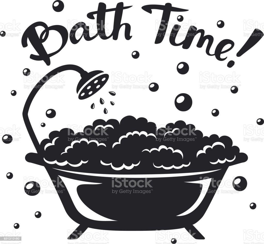 Vintage bathtub with bubbles silhouette with handwritten text bath time vector art illustration