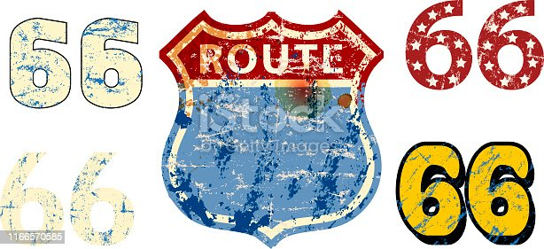 vintage battered blank route 66 road sign,retro grungy vector illustration.  Free copy space. Fictional artwork.
