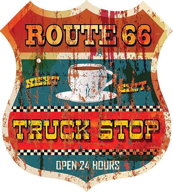 ilustraciones, imágenes clip art, dibujos animados e iconos de stock de vintage maltratadas ruta 66 parada de camión signo - conductor de autobús