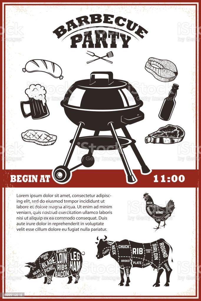 Modèle Vintage Bbq Partie Poster Grillades Steak Viande Bouteille De ...