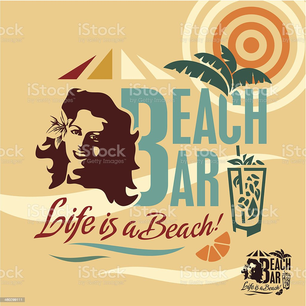 Vintage Beach Bar Poster Royalty Free Stock Vector Art Amp