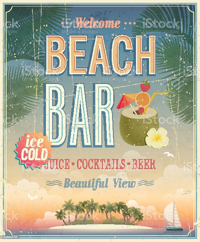 Vintage Beach Bar poster. vector art illustration