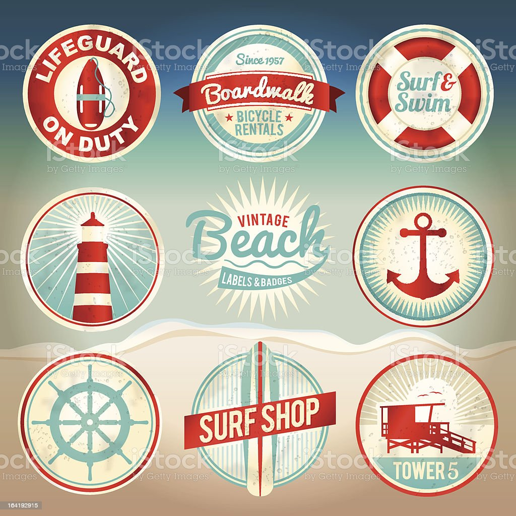 Vintage Beach Labels and Badges vector art illustration