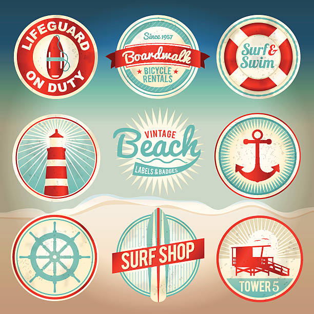 """Vintage Beach Labels and Badges Vintage set of beach labels and badges. EPS 10 with gradient mesh. Gradient mesh is only used in """"distressing"""" the labels and can be easily removed (layered separately in the file) to support earlier versions of EPS. File is organized, grouped, and layered for easy separation of designs. lifeguard stock illustrations"""