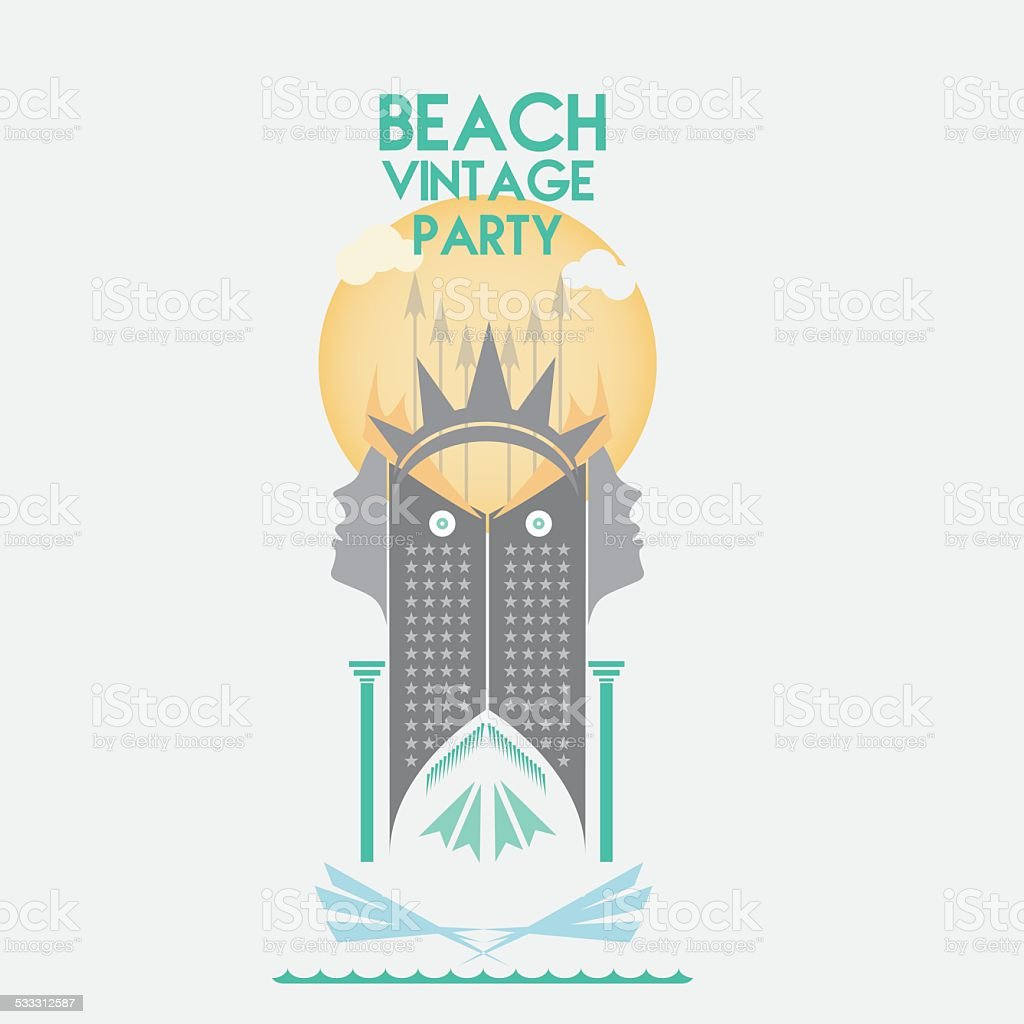 Vintage Beach Party Poster Background Royalty Free Stock Vector Art