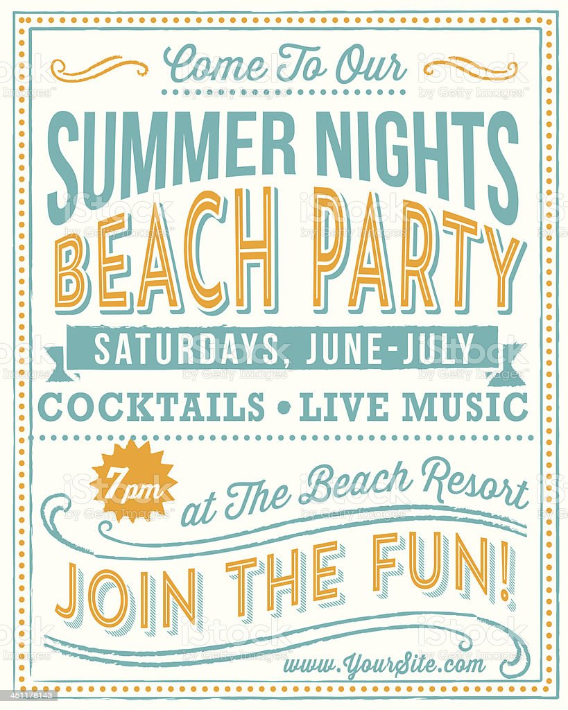 Vintage Beach Party Poster Royalty Free Stock Vector Art Amp