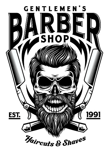 Vintage Bearded Barber Skull With Crossed Razors