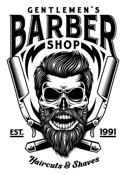 交差したカミソリでビンテージのひげを生やした床屋スカル - 床屋点のイラスト素材/クリップアート素材/マンガ素材/アイコン素材