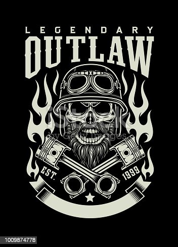 fully editable vector illustration of, vintage bearded biker skull isolated on black, image suitable for emblem, insignia, logo, design element or graphic t-shirt