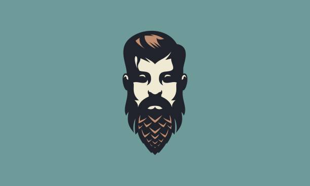 vintage bearded man face brewery illustration - mann bart freisteller stock-grafiken, -clipart, -cartoons und -symbole