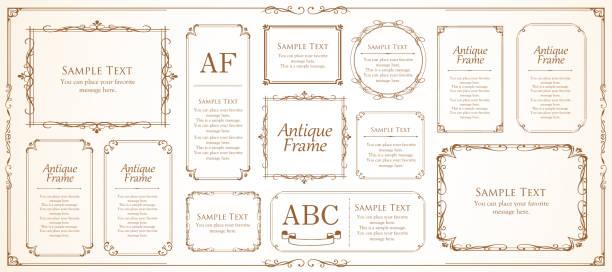 Vintage beautiful frame design set Vintage beautiful frame design set frame border stock illustrations