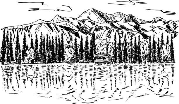 vintage schöne natur hintergrund vektorgrafik tinte hand gezeichnet - landschaftstattoo stock-grafiken, -clipart, -cartoons und -symbole