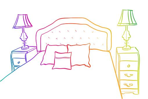 Vintage Bedroom Sketch Rainbow