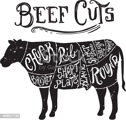 vintage beef cuts butcher diagram stock vector art diagram of a plate of the cow
