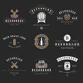 Vintage beer brewery logos, emblems, labels