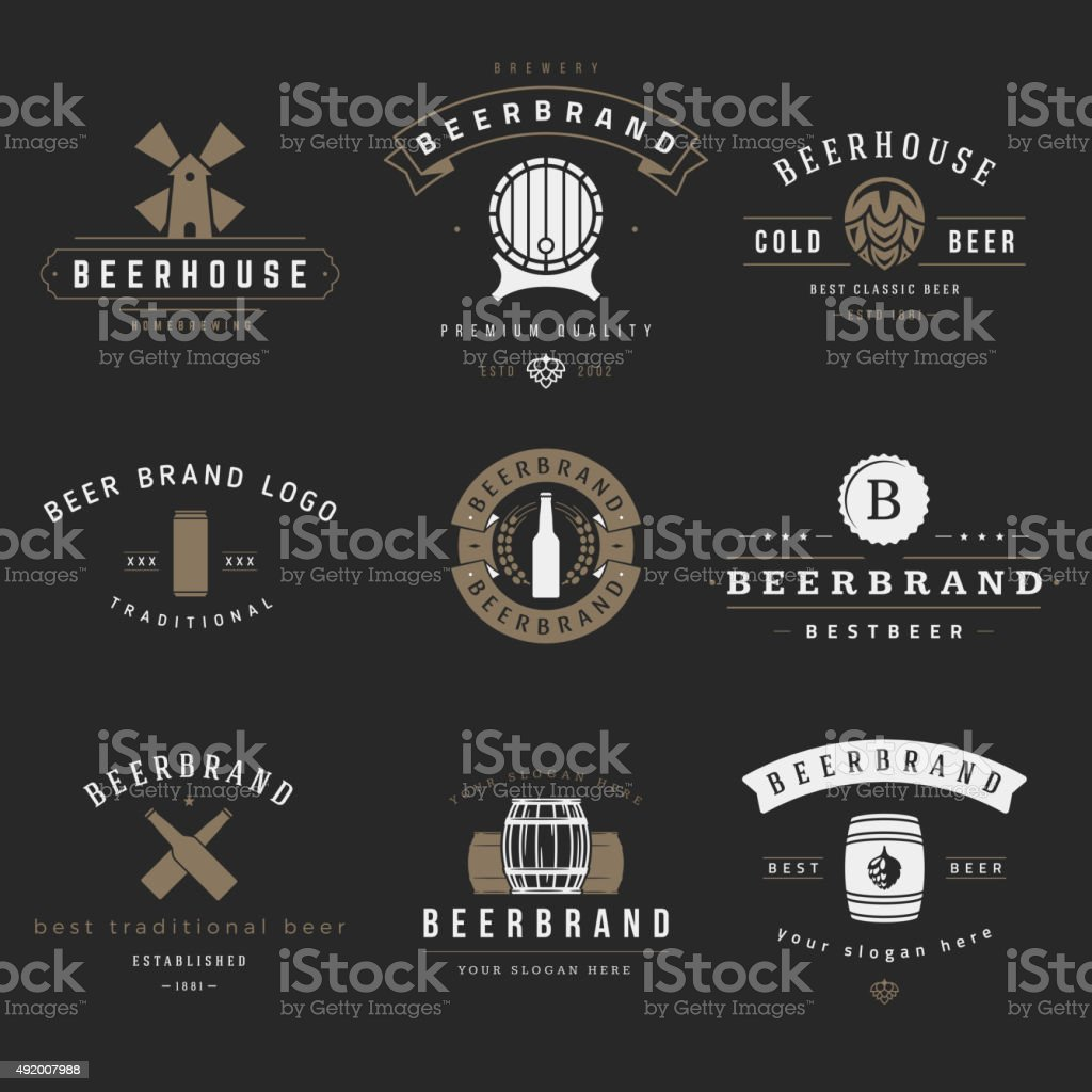Vintage beer brewery logos, emblems, labels vector art illustration