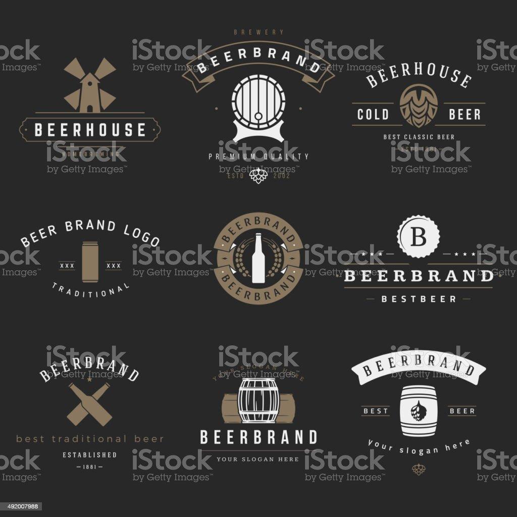 Vintage-Brauerei logos und Embleme, Etiketten – Vektorgrafik