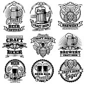 Vintage beer drink bar vector labels. Retro brewery emblems and icons with hops and mug. Brewery drink emblem beer illustration
