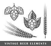 Vintage beer elements. Vector illustration