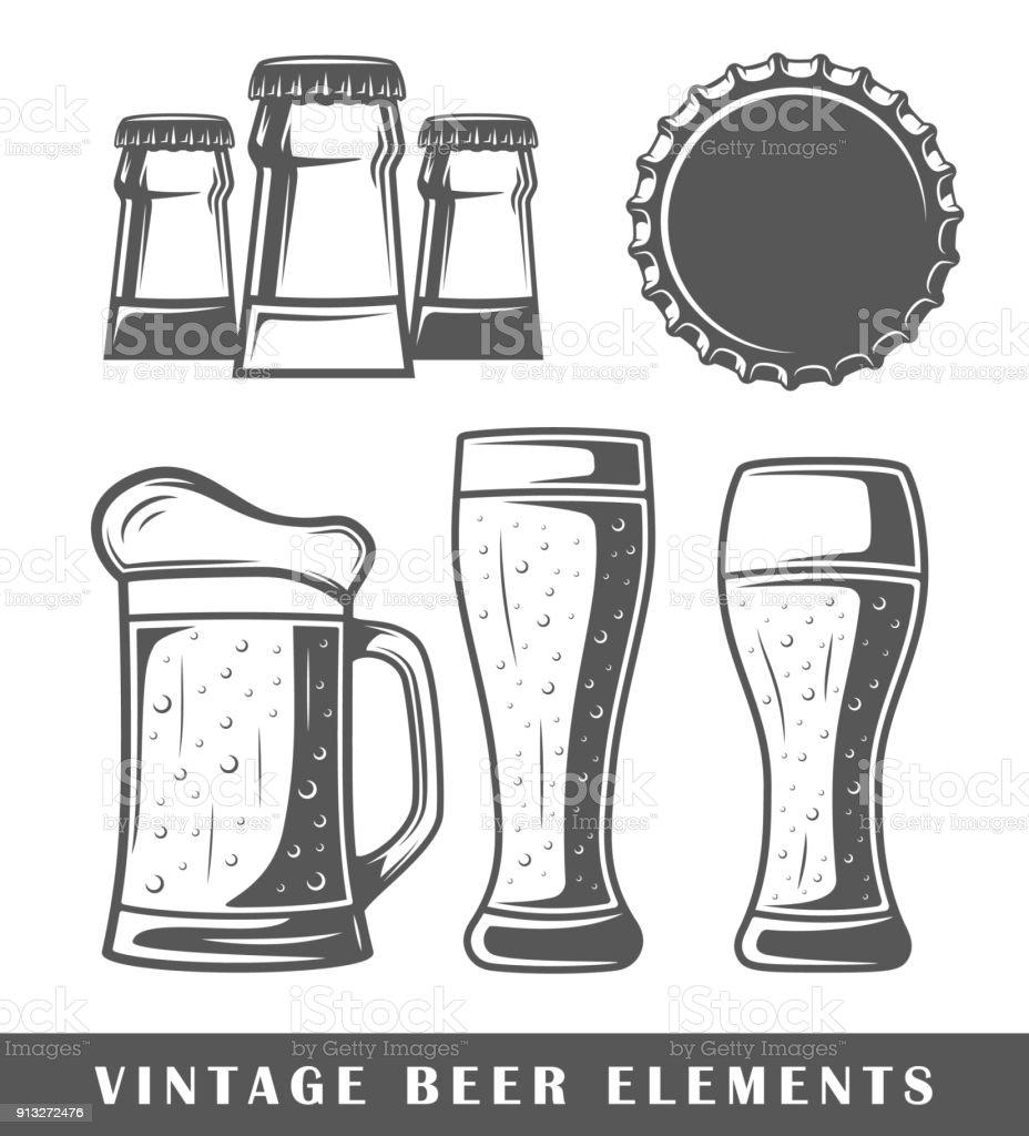 Vintage beer elements vector art illustration