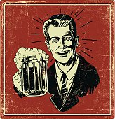 Vintage cheerful man holding beer