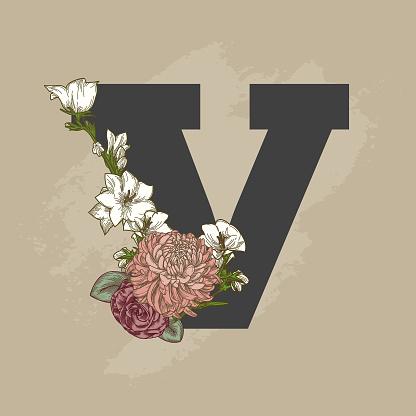 Vintage Beige Floral Drop Cap Letter