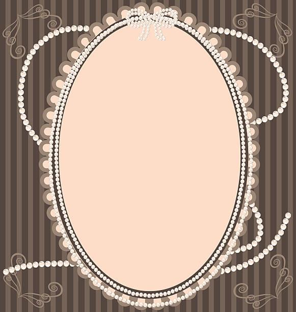 vintage-beige frame - perlenweben stock-grafiken, -clipart, -cartoons und -symbole