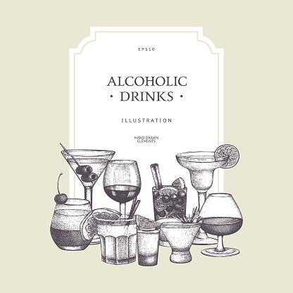 Vintage beverages sketch background.