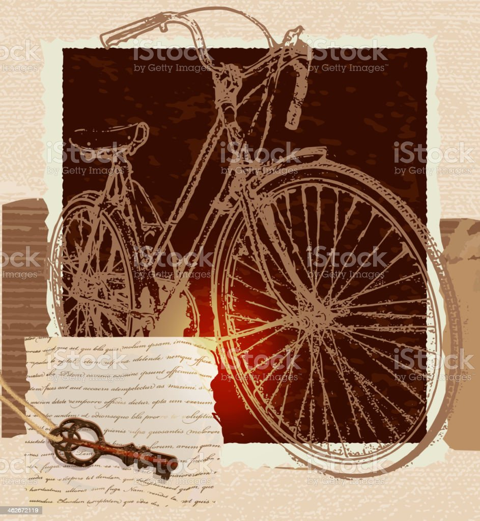 Vintage Bicycle And Key On String Scrapbook Page Template Stock ...