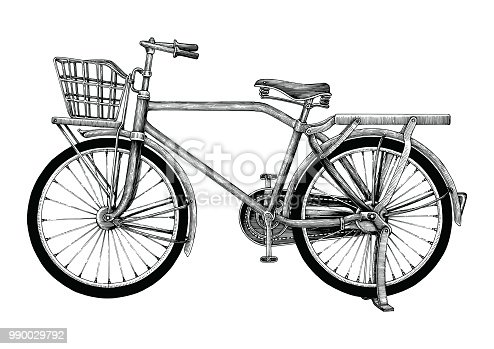 Vintage bicycle hand drawing clip art isolated on white background